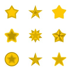 Types of stars icons set. Flat illustration of 9 types of stars vector icons for web