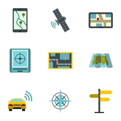 GPS map icons set. Flat illustration of 9 GPS map vector icons for web