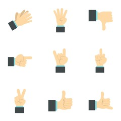 Hand icons set. Flat illustration of 9 hand vector icons for web
