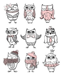 Nine cute hipster owls