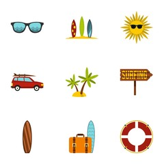 Surfing club icons set. Flat illustration of 9 surfing club vector icons for web