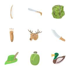 Shooting at animals icons set. Cartoon illustration of 9 shooting at animals vector icons for web