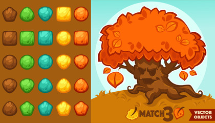 vector collection of match 3 objects, blocks and puzzles for you