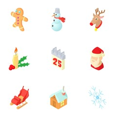 December holiday icons set. Cartoon illustration of 9 december holiday vector icons for web