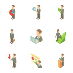 Business icons set. Cartoon illustration of 9 business vector icons for web