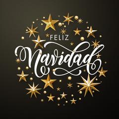 Spanish Merry Christmas Feliz Navidad gold glitter stars greeting card