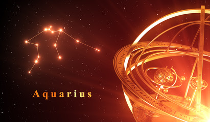 Zodiac Constellation Aquarius And Armillary Sphere Over Red Background