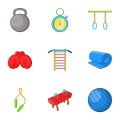 Lesson in gym icons set. Cartoon illustration of 9 lesson in gym vector icons for web