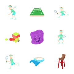 Big tennis icons set. Cartoon illustration of 9 big tennis vector icons for web