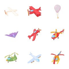 Flying machine icons set. Cartoon illustration of 9 flying machine vector icons for web