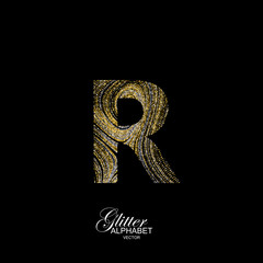 Curly textured Letter R.