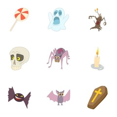 Halloween holiday icons set. Cartoon illustration of 9 halloween holiday vector icons for web