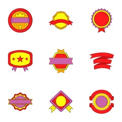 Badge icons set. Cartoon illustration of 9 badge vector icons for web