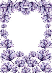 Frame with Watercolor Lilac Flowers and Heart
