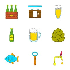 Barley drink icons set. Cartoon illustration of 9 barley drink vector icons for web