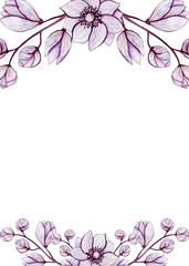 Frame with Watercolor Lilac Flowers and Buds