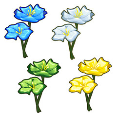 Four bright yellow, blue, green and light flowers