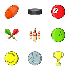 Training icons set. Cartoon illustration of 9 training vector icons for web