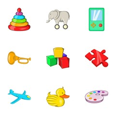 Game icons set. Cartoon illustration of 9 game vector icons for web