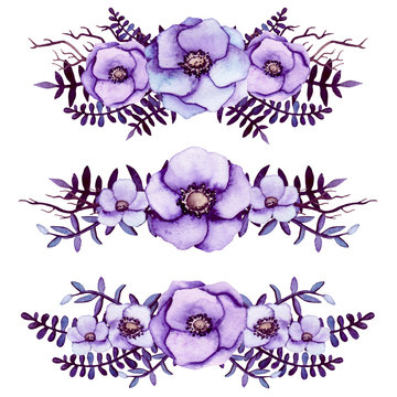 Set of Watercolor Bouquets with Light Purple Flowers, Tree Branches and Dark Leaves