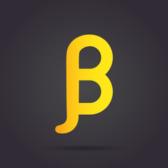 Beta letter icon, greek alphabet sign