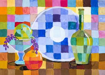 """Детский рисунок гуашью """"Декоративный натюрморт с фруктами и предметами"""""""