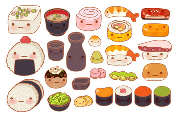 Collection of lovely baby japanese oriental food doodle icon, cu