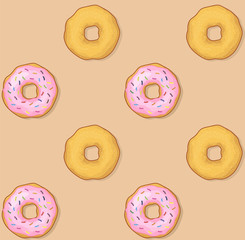 Donut with glazed sprinkles and frosting cream and simple donuts with icing sugar seamless pattern. Sweet tasty doughnut. Snack bakery cake vector icon illustration