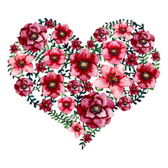 Watercolor Floral Heart with Bright Red Flowers