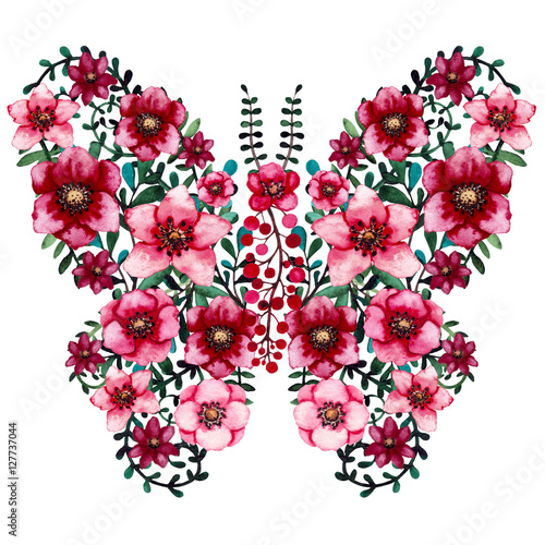 Watercolor Floral Butterfly with Bright Red Flowers and Green Leaves