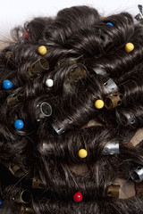 Wig Production - Applying Curls for Curly Wig.