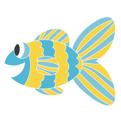 Funny exotic fish. Blue and yellow smiling cartoon fish. Colorful cute sea animal. Icon isolated on white background.