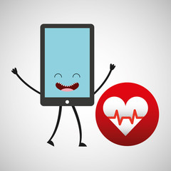 smartphone cartoon with heart cardiology vector illustration eps 10