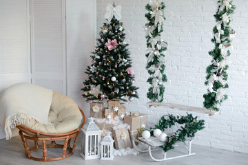Christmas gifts under a fir-tree. It can be used as a background