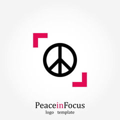 Peace in Focus, Logo Template, Media Sign, Vector Illustration
