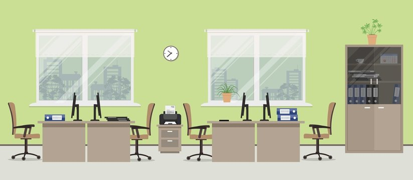 Office room in a green color. There are tables, beige chairs, case for documents, printer and other objects in the picture. Vector flat illustration