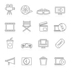 Line movie and cinema icons - vector icon set