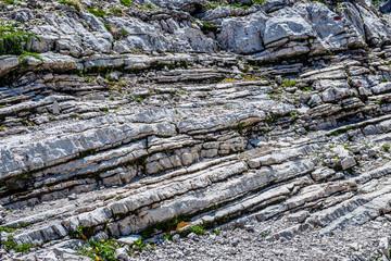 Exposed weather rock strata on Grosser Daumen