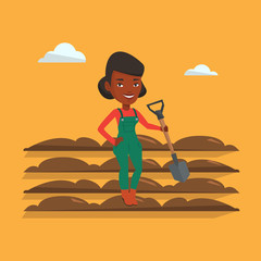 Farmer with shovel at field vector illustration.