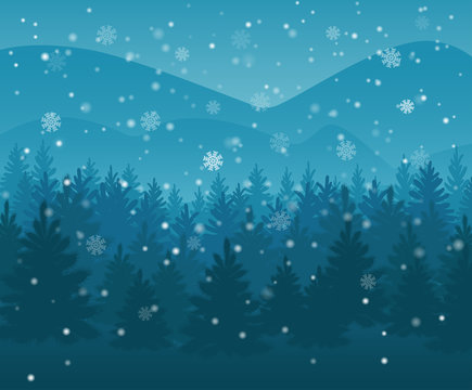 winter night forest. falling snow in the air. christmas theme. new year weather