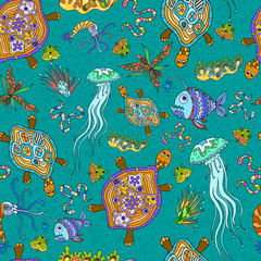 Seamless pattern of sea animals.
