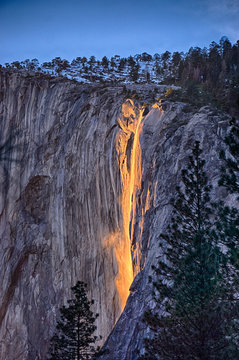 Sunset makes Horsetail Falls in Yosemite look like a lava flow February 2016