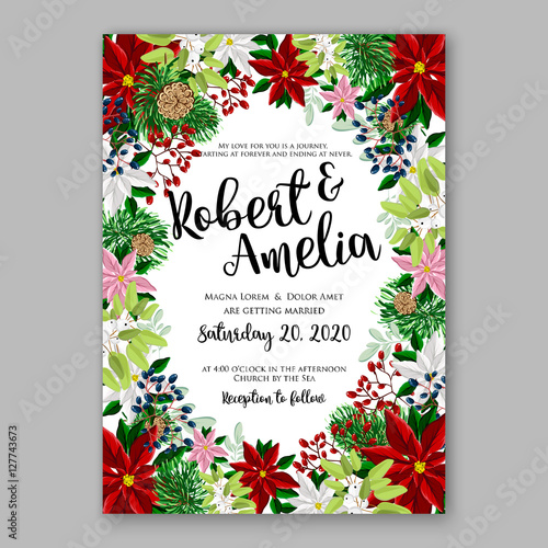 Poinsettia wedding invitation sample card beautiful winter floral poinsettia wedding invitation sample card beautiful winter floral ornament christmas party invitation with poinsettia fir stopboris Images