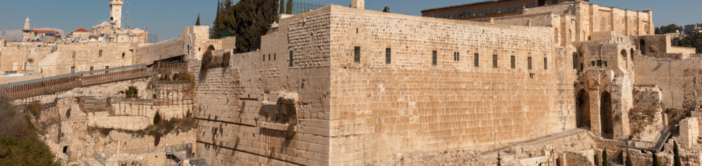 Large panoramic view of Western Wall. Jerusalem. Israel