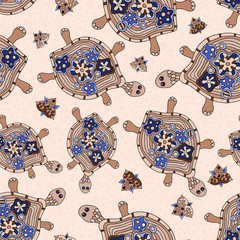 Seamless pattern of turtles.