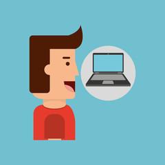 laptop computer character man design vector illustration eps 10