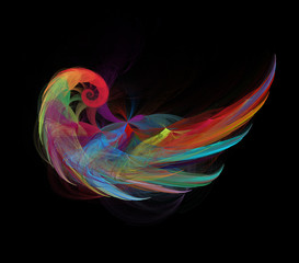 Colorful angel wing. Fractal graphics