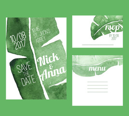 Beautiful wedding set with tropical watercolor green background background. Bright templates for creative wedding prints.