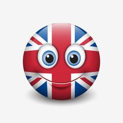 Cute emoticon isolated on white background with United Kingdom flag motive - smiley