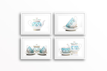 Collage of tea set pictures in frames.
